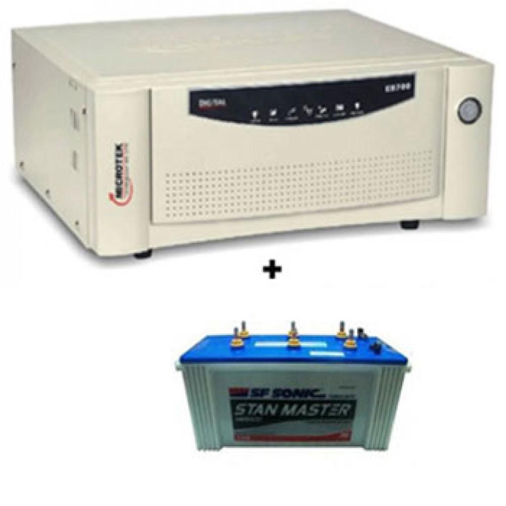 Microtek UPS SEB 1100VA Inverter + Sfsonic (Exide) Stan Master SM 8500 150Ah Battery