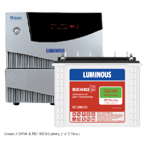Luminous Home UPS 7.5 kVA Cruze+ + 150 Ah RC18000 Battery Combo